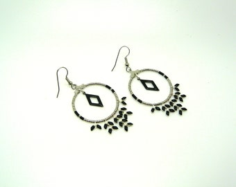 Black Spike and miyuki - creole earrings