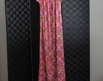 70s psychedelic polyester long festival off shoulder dress strawberry fields
