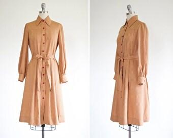 Rampling dress • vintage 1970s silk shirt dress • polka dot 70s silk shirtwaist dress