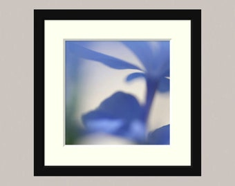 "Abstract wall art, blue flower photograph, home decor -- ""Blue Haze 2"", a 5x5-inch fine art photograph"