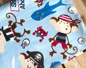Swaddle/Receiving Blanket - Pirate Monkeys - Flannel cotton