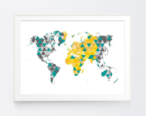 Yellow teal gray world map print mustard teal grey world map gumiabroncs Image collections