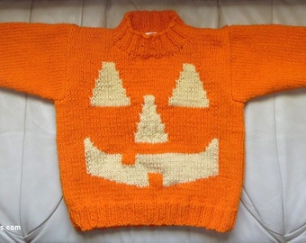 Child Pumpkin Sweater - Thanksgiving Halloween Pumpkin Patch Photo Op - Child 4 - 5 - Night Safety Color- Designed and Knit in USA Item 3045