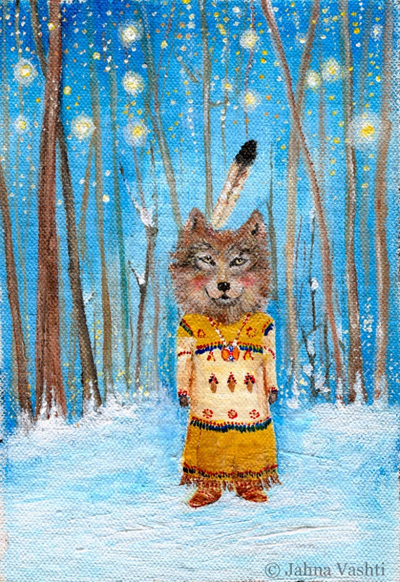 Print Wolf Art Lone Wolf Wolf Maiden Native