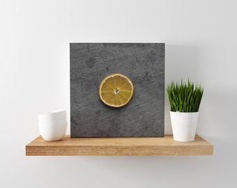 orange // food photography print // canvas print // kitchen wall art // dining room wall art // rustic wall art // citrus fruit