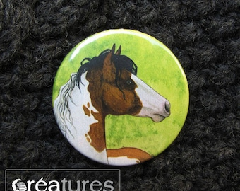 38mm badge wore Paint Horse watercolor