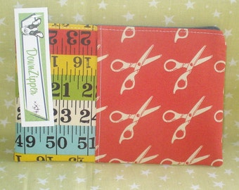 Measure Twice Cut Once - Fabric Zipper Wallet Pouch - Hard to find Fabric