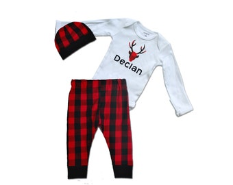 Buffalo Plaid Baby Shower- Red Black - Baby Shower - Personalized