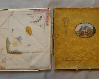 Vintage MINT Swiss Hankies Handkerchiefs Set of 3 In Original Box