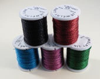 5 rolls rope metal colors mixed 0.5 mm