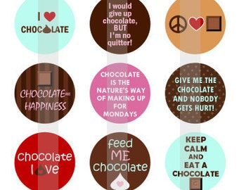 """Chocoholic - one 4x6 inch digital sheet of 1"""" round images for bottlecaps, magnets, glass tiles, pendants etc."""