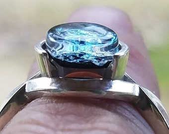 NEW Infinity Flat Cut 8mm Cremation Jewelry Ring Ashes InFused Glass Pet Memorial 7, 8 Sympathy Gift