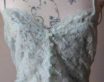 Made in Italy Malizia brand full lace vest top camisole canottiera pizzo blue green Tiffany color 34 size vintage mint perfect under jacket