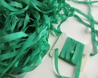 Green Silk Ribbon - Embroidery Ribbon - 4mm - Needlecraft - Emerald Green 2