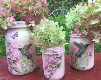 Pink painted Vases,