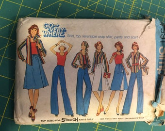 Miss Size 10 Shirt, Top, Reversible Wrap Skirt, Pants, Scarf.  Simplicity #7391 Sewing Pattern