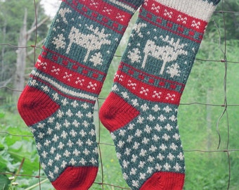 MOOSE Christmas Stocking Digital Knitting Pattern Instant Download