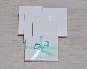 10 White Gloss 7x5.5x1 Gift Jewelry Necklace Boxes with Cotton Fill Invitation / Photography Box A7