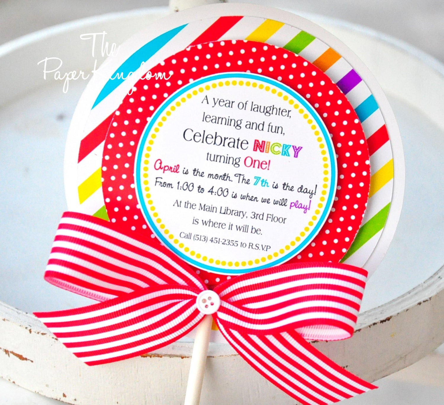 Lollipop Invitations in Primary Colors Candyland Lollipop