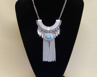 Silver and Turquoise colour statement necklace, Egyptian inspired necklace (Stock #6746)