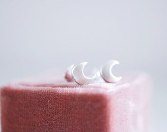 Moon earrings. Sterling silver moon stud earrings. Silver moon, Moon studs, moon phase, moon phase studs, mini studs, small moon, every day.