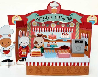 Paper toy bakery play set - French bakery paper craft kit with little cat, rabbit and dog figures - download, print, assemble and play
