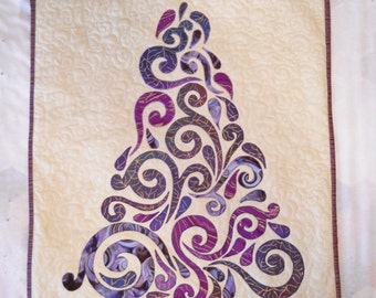 Tree Wall Hanging Gold Embossed Purple Modern Quilt and Applique