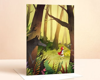 Red Riding Hood Card   Birthday Card   Kids Birthday   Greeting Card   Fairy Tale   Art Card   Nursery Art   Childrens Card