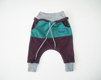 Kids Harem Pants Size Newborn - 4 Unisex dropped crotch sweatpants with Kangaroo Pocket