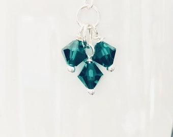 Emerald Green Swarovski Crystal Cluster Beads Earrings
