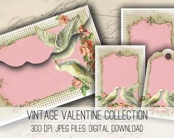 Dove Envelopes, Tags & Cards - Digital Collage Sheet Download -1160- Digital Paper - Instant Download Printables