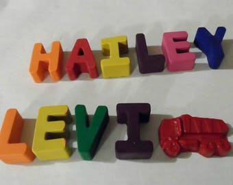 Personalized crayons, name crayons, stocking stuffers, crayon shapes