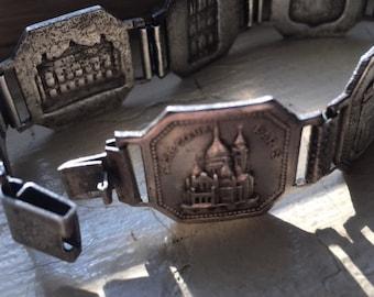 Souvenir Paris France Vintage Panel Bracelet