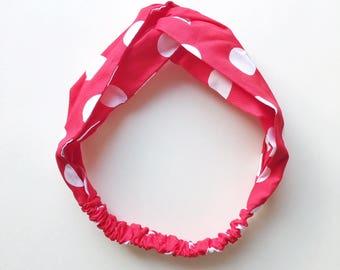 CLEARANCE - Phyllis Fabric Headband - Turban headband - Red Polka Dots - Boho headband - Womans headband - Adult headband - Red headband