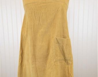 70s Corduroy Dress, Vintage Retro 1970s Tan Jumper Collar Sleeveless Dress with Pocket, Women's Size 11/12, Pizelli