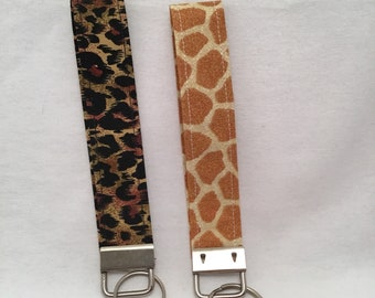 Animal Print Key Fob Keychain Wristlet