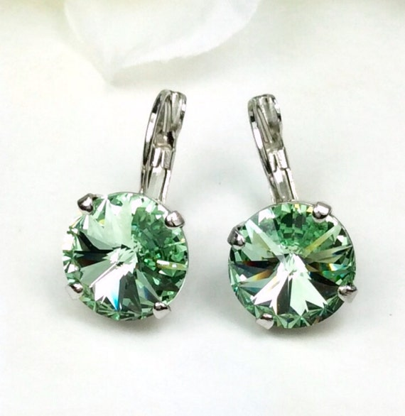 Swarovski Crystal 12MM Drop Earrings Classy & Feminine - Chrysolite  - Or Choose Your Favorite Color and Finish -  FREE SHIPPING