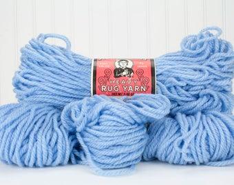 4 Skeins Aunt Lydias Heavy Polyester Rug Yarn Medium Blue 710 Vintage American Thread Punch Needle, Crochet, Weaving, Braided Rugs, Macrame