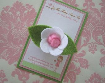 girl hair clip - white flower hair clip - no slip hair clip