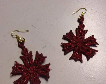 Earrings made of lace