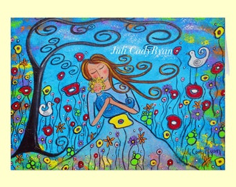 Little Boy Blue Original Art Mother's Day Greeting Card, 5 x 7 with Envelope
