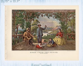 Americana Currier & Ives Vintage Lithograph Print Home from the Brook Paper Ephemera Book Page ready to frame print vintage fishing art z41