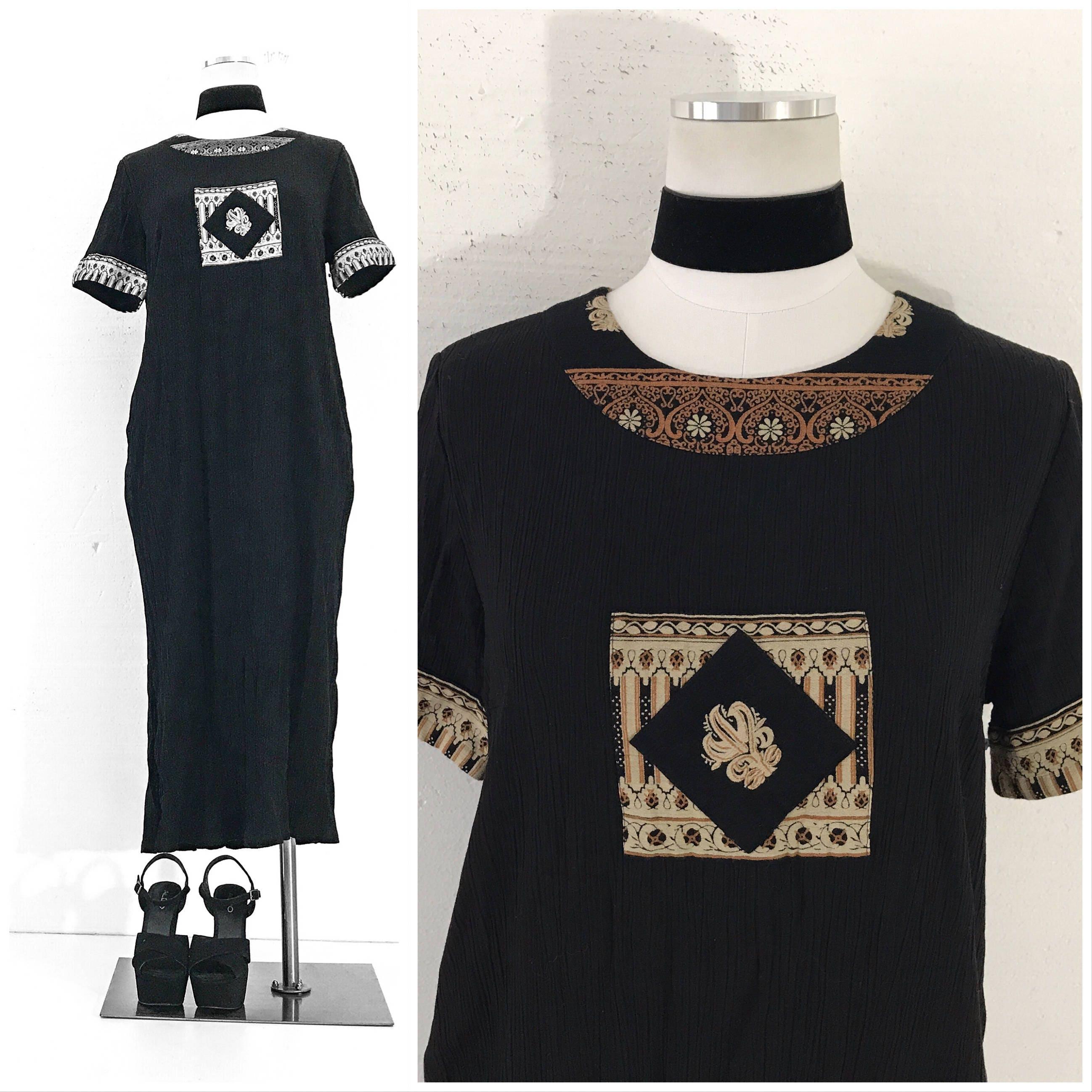 70er Jahre Kleid 70er VINTAGE Kleidung schwarzes Kleid Hippie