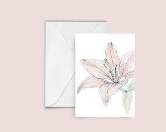 Lily illustration Greeting card , blank card