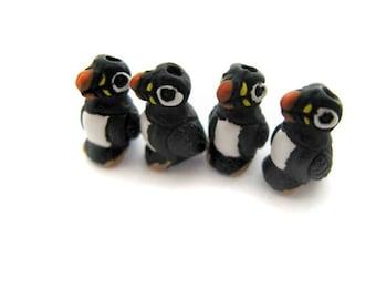 4 Tiny Puffin Beads - Bird, Puffin, Animal, Peruvian - CB958