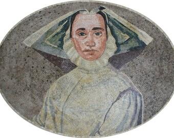 Oval Figure Lady Sister Art Marble Stones Marble Mosaic FG780