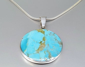 Statement round pendant with Turquoise and Sterling silver - gift idea holiday season - blue and silver - statement jewelry - genuine stone