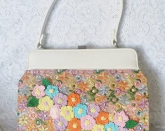 Vintage,Embroidered, Floral Handbag, Newly Embellished with Crochet Flowers and Leaves