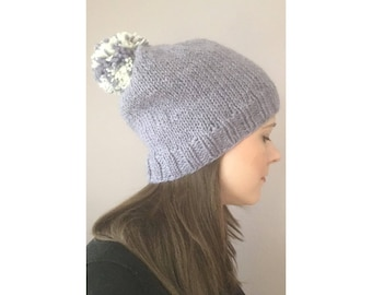 The Beanie // Lavender Oversized Wool Slouchy Hat with Pom Pom // Ready to Ship!