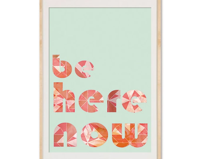 Geometric Be Here Now Meditation Collage Poster Print on aqua background